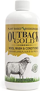 Outback Gold Wool Wash, 16 Ounce, Natural Plant Based Mild Liquid Soap, Cleans and Conditions Sheepskin, Wool and More, wi...