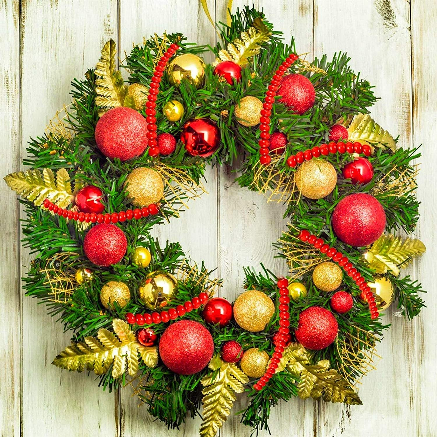 Christmas Wooden Bead Garland Bright Red Wood Bead Garland Christmas Tree Holiday Decoration Bright Red,4.6 Feet