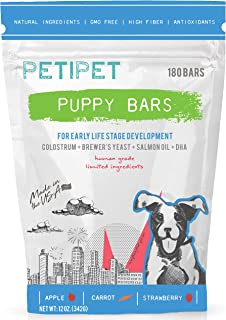PETIPET Puppy Bars Dog Treats - for Early Life Stage Development - Formulated with Colostrum, Brewer's Yeast, Salmon Oil, DHA - Human-Grade Ingredients - Made in USA - 180 Count