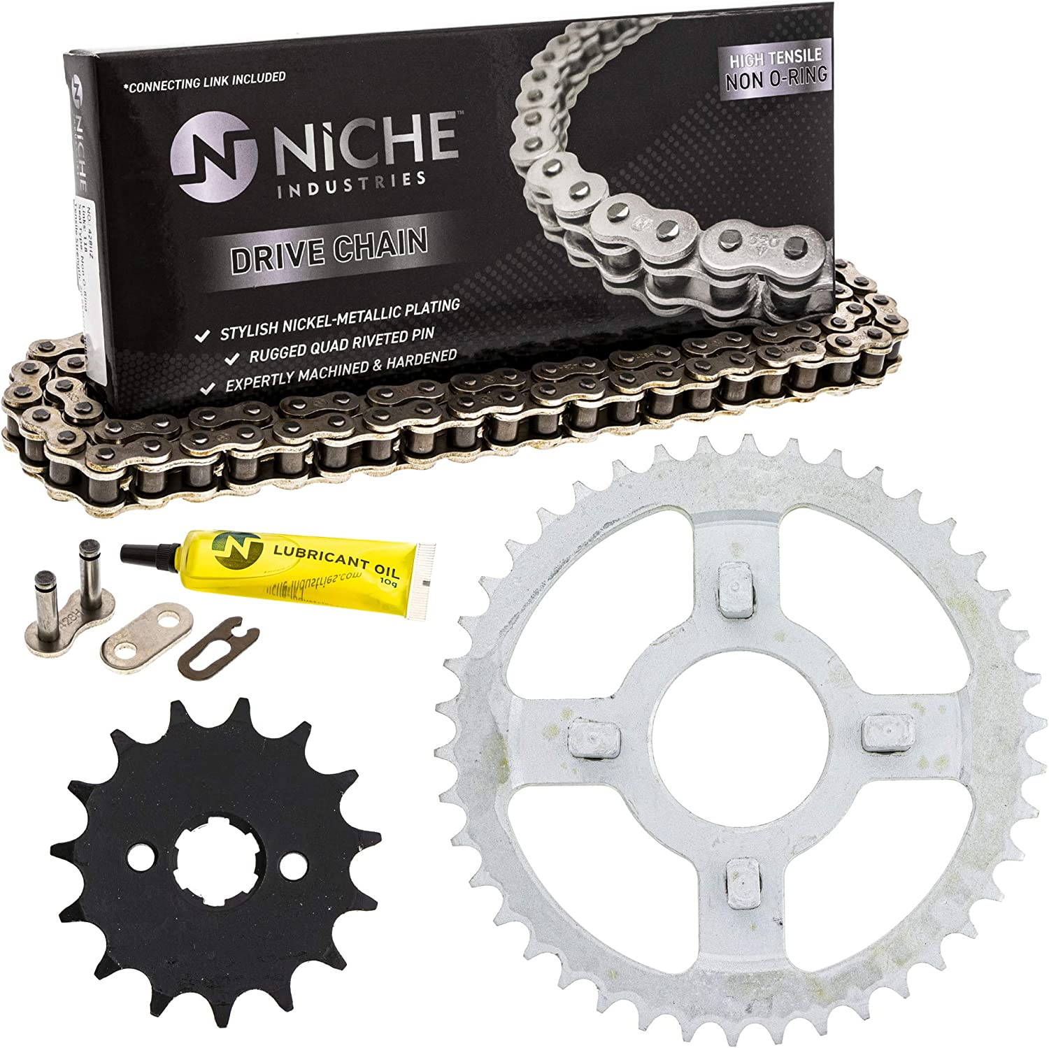 NICHE Drive Sprocket Chain Combo for Honda XL100S Front 15 Rear 42 Tooth 428V O-Ring 108 Links