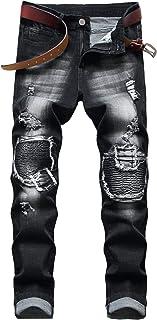 Men's Ripped Slim Straight Fit Moto Biker Jeans with Zipper Deco