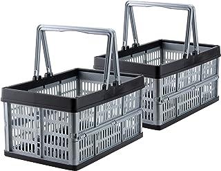 comprar comparacion Grizzly 2 x Cajas Plegables con asas - 16 L - Cestas de almacenamiento - apilables