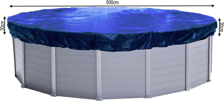 QUICK STAR Cubierta de Piscina de Invierno Redonda 200g / m² para Piscina 460-500 cm Dimensiones de Lona ø 560 cm Azul