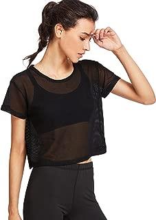 Women's Sexy Sheer Mesh Fishnet Net Short Sleeve T-Shirt Crop Top