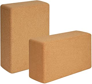 Hossejoy Cork Wood Yoga Blocks, Support Brick to Deepen Poses, Improve Strength and Aid Balance and Flexibility, 8.7 x 5.7...