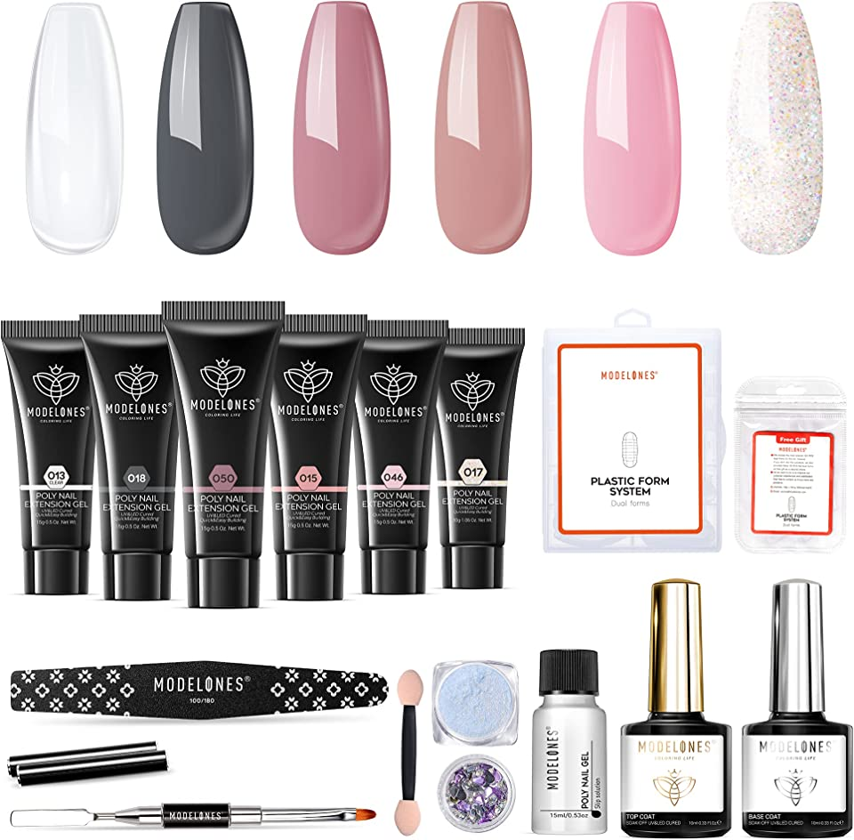 Modelones Poly Nail Gel Kit Enhancement Builder Poly Nail Polish Clear Nude Grey Glitter Pink Nail Extension Gel Kit with Slip Solution Trial Professional Technician All-in-One French Kit