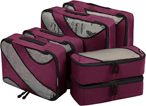 Bagail 6 Set Packing Cubes,3 Various Sizes Travel Luggage Packing Organizers Burgundy