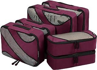 6 Set Packing Cubes,3 Various Sizes Travel Luggage Packing Organizers Burgundy