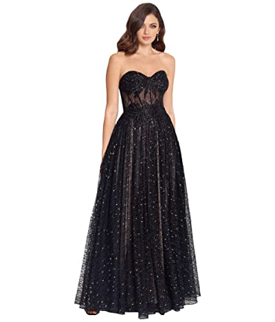 Betsy & Adam Long Strapless Embroidered Lace Gown