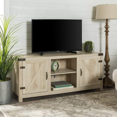 Walker Edison Furniture Company Farmhouse Barn Wood Universal Stand for TV's up to 64  Flat Screen Living Room Storage Cabinet Doors and Shelves Entertainment Center, 58 Inch, White Oak