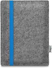 Bolsa de e-Reader Stilbag Leon para Icarus Illumina XL HD | Fieltro de Lana Gris Claro - Cinta elástica Azul | Funda Protectora Made in Germany