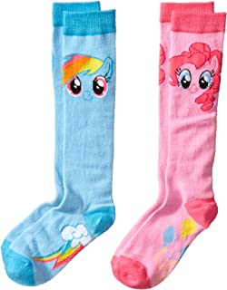 High Point Little Girls' My Little Pony Knee High Socks- Blue/Pink, Assorted, 6-8.5 (Pack of 2)