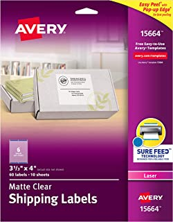 Avery Clear Easy Peel Shipping Labels for Laser Printers 3-1/3 x 4, Box of 60 (15664)