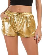Tandisk Women's Yoga Hot Shorts Shiny Metallic Pants with Elastic Drawstring