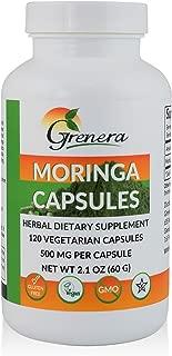 Grenera Moringa Capsules - 120 Vegetarian Capsules/Bottle - Made with USDA Organic Moringa Leaf Powder/Malunggay Capsules