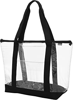 Clear Shoulder tote with Inside & Outside POCKETS and ZIPPER Closure