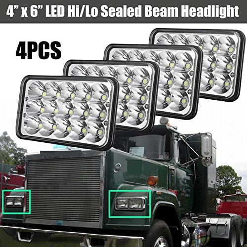 discount 4X6 Inch online sale LED Sealed Beam Headlight Super Bright Replacement For Mack Truck Hi-Lo IP68 H4651 online H4652 H4656 H4666 H6545 Pack of 4 outlet sale