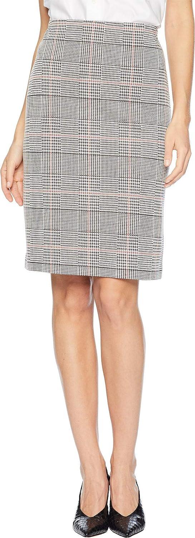 Nine West Womens Knit Plaid Slim Skirt