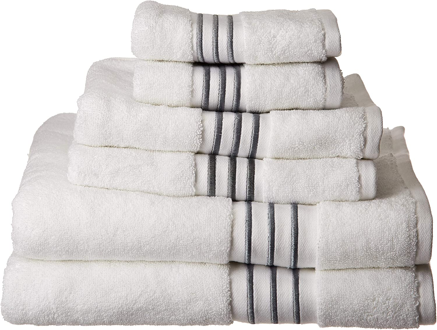 Elloy 700Gsm Cotton Bathroom Towels , Striped Elegant Highly Absorbent Bath Towel Set , 6-Piece Include 2 Bath Towels, 2 Hand Towels & 2 Wash Towels , White Grey