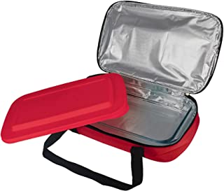 """Le Regalo Glass Casserole with Insulated Bag, Ideal for Picnic, Potluck, Hiking & Beach Trip-Retains Hot and Cold Temperature of Food, 14""""x8.5""""x2.75"""", Red"""