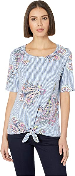 Printed Jersey Elbow Sleeve Top w/ Tied Knot