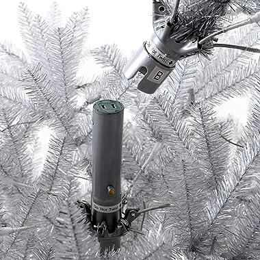 MARTHA STEWART Tinsel Pre-Lit Artificial Christmas Tree, 7 Feet, Silver/Clear Lights