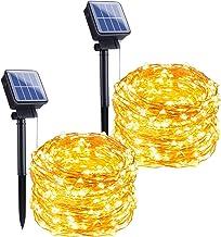 چراغهای خورشیدی در فضای باز ، 2 بسته 33FT 100 LED چراغهای مسی ضد آب خورشیدی دکوراسیون ضد آب چراغهای سیم با 8 حالت برای درختان پاسیو حیاط کریسمس دکوراسیون عروسی (سفید گرم)