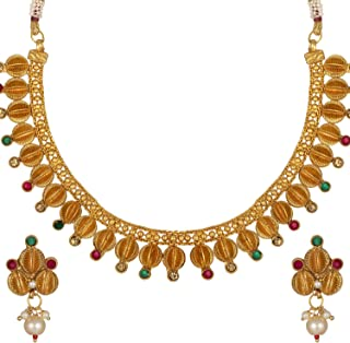 Aheli Gold Tone Faux Stone Studded Wedding Designer Necklace with Earrings Ethnic Bollywood Party Indian Fashion Jewelry S...