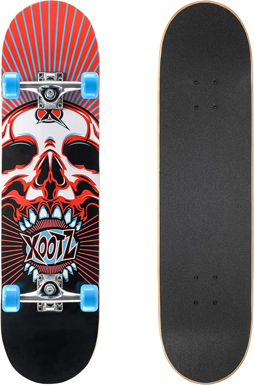 Janoon XOOTZ 31 Skateboard,Children /& Kids Skateboard,Beginners Double Kick Maple Fun By /® Crystals Double Kick - SKULL