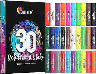 Zenacolor Coffret 30 Color Stick Solide de Peinture Gouache Enfant - Kit Peinture Enfant et Bebe certifié CE - Kids Art Ki...