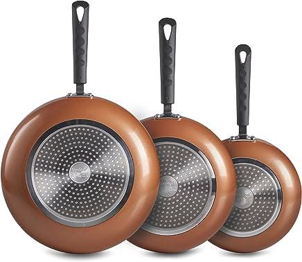 Set de sartenes de aluminio en cobre de 3 piezas VonShef – El set incluye sartenes