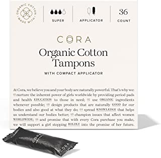 Cora Organic Cotton Unscented Tampons with BPA-Free Plastic Compact Applicator - Chlorine & Toxin Free - Super (36 Count)
