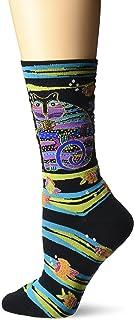 Laurel Burch Women's Crew Socks, Cat Fish Black, 9-11