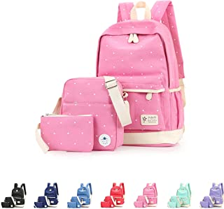 Queenie - Cotton Canvas School Backpack Casual Daypack Shoulder Bag for Kids Girls Boys (8006 Pink)