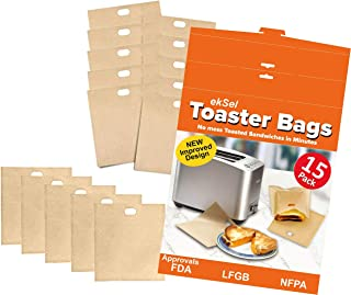 ekSel Toaster Bags Reusable Non-stick Gluten Free Grilled Cheese Nuggets BPA free 15 Pack