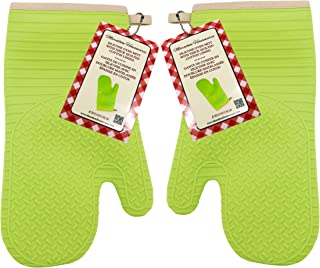 Marathon Silicone Oven Mitt with Thick Quilted Cotton Lining. Color-Green. SKU-KW030018GR. (Set of 2)