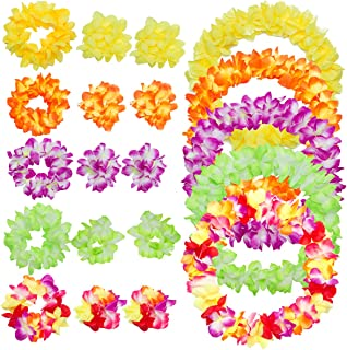 "PAMASE 5 Sets 40"" Hawaiian Luau Party Flower Leis Wreaths Necklace Headband Bracelet for Kids & Adults - Tropical Artifici..."