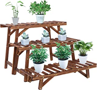 UNHO Wood Plant Ladder Bench,3 Tiered Plant Stand Step Planter Indoor Outdoor Plant Pot Stand Corner Plant Shelves Flower ...