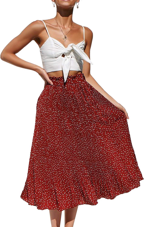 Falda de Verano para Mujer Estilo Boho Estampado Casual Falda Medio Lunares l/ínea A Falda de Verano
