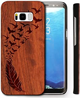 Wood Phone Cover for Galaxy S8 SM-G9500 Case,Print Hard Cover Unique Handmade Natural Floral Wood Pattern Slim Wooden Case for Samsung Galaxy S8(Feather)