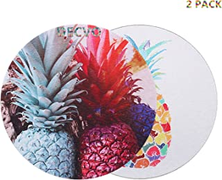 DECVO Gaming Mouse Pad Custom, Cute Colored Hawaiian Pineapple Tropical Abstract Watercolor Painting Art Computer Carpet Mouse Mat Standard 8.5 inch 2 Pack (Gray Color+White Color)