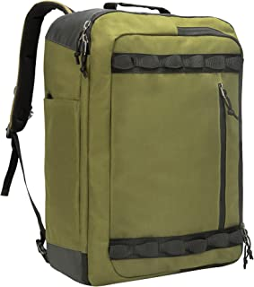 TRAILKICKER Large Carry on Backpack, 48L Flight Approved Convertible Travel Backpack, X-Over Backpack for Men & Woman, Olive Green