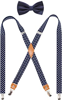 Mens Suspender and Bowtie Set X Back Heavy Duty Adjustable Elastic Clips