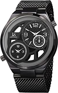 Joshua & Sons Designer Men's Watch - Dual Time Zone and Small Seconds Display - Stainless Steel Mesh Bracelet - Large Round Case with Transparent Dial
