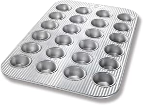 USA Pan Bakeware Mini Cupcake and Muffin Pan, 24 Well, Nonstick & Quick Release Coating, Made in The USA from Aluminized S...