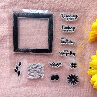 GAWEI Clear Stamps for Card Making DIY Scrapbooking Flowers Words Thinking of You with Sympathy Transparent Stamps Silicon...