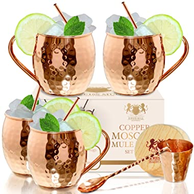 The Best Moscow Mule Mugs -Set Of 4-, Made of REAL 100% Pure Copper Guaranteed, Each mug is HANDCRAFTED and Unique - Food Safe Pure Solid Copper Cups- 16 Oz Moscow Mule Gift Set