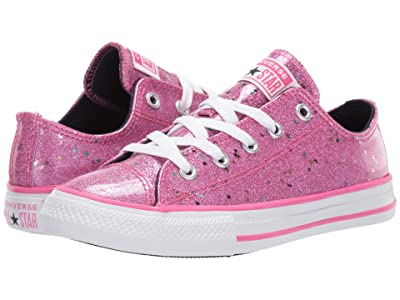Converse Kids Chuck Taylor(r) All-Star(r) Galaxy Glimmer Ox (Little Kid/Big Kid) (Mod Pink/Obsidian/White) Girls Shoes