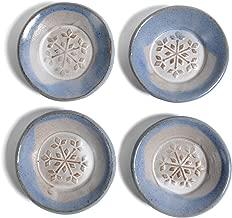 MudWorks Pottery Snowflake Tea Bag Coasters, Blue and White, Set of 4