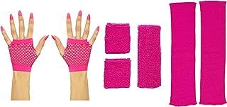 Panelize 80er Jahre Set Damen Neon pink Beinstulpen Handschuhe kurz oder lang mit Stirnband und Schweißbändern Handschuhe kurz